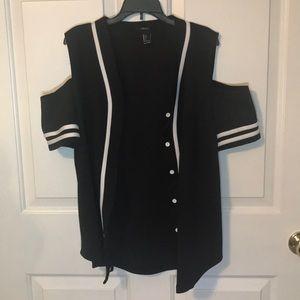 Black and white baseball jersey